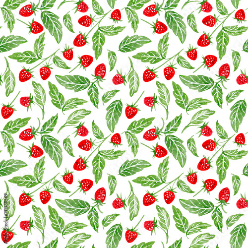 Fototapeta Floral seamless pattern of a raspberry.Watercolor hand drawn illustration.White background.