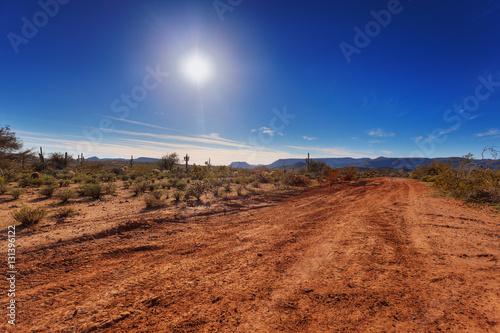 Foto Spatwand Arizona Dirt road through Arizona desert just outside Scottsdale