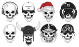 Set Skulls. Vector Illustration