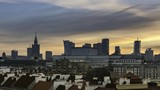 Sundown over Warsaw a capital of Poland time lapse