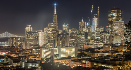 Night over San Francisco Downtown from Ina Coolbrith Park. San Francisco Christmas Lights viewed from Russian Hill neighborhood.