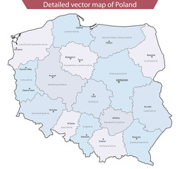 Detailed vector map of Poland v2