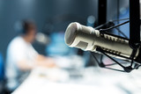 Fototapety young man dj works in modern broadcast studio