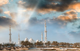 Abu Dhabi, UAE. Panoramic view at sunset of Sheikh Zayed Mosque