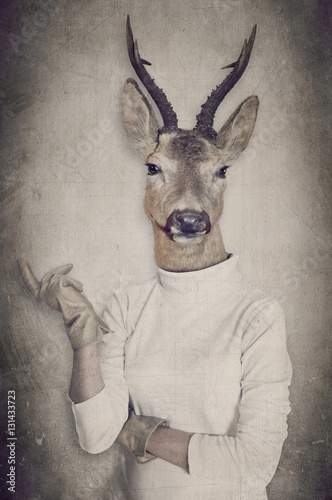 Deer in clothes. Concept graphic in vintage style. - 131433723