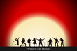 Постер, плакат: Band show on red sunset background Festival concept Set of silhouettes of musicians singers and dancers Vector illustration