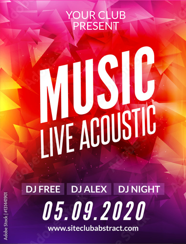 Live music acoustic poster design temple. Live show modern party dj invitation flyer