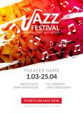 Fototapety Vector musical flyer Jazz festival. Music poster background festival brochure flyer template.