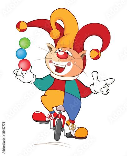Papiers peints Chambre bébé Illustration of a Cute Cat Clown Juggler . Cartoon Character