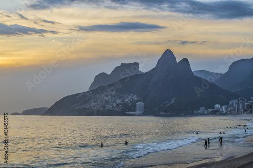 Poster Ipanema Beach at Sunset Rio de Janeiro Brazil