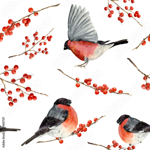 Watercolor seamless pattern with bullfinch and red berries. Hand painted ornament with birds and winter berries on white background. Christmas symbol. Illustration for design or print. - 131465707