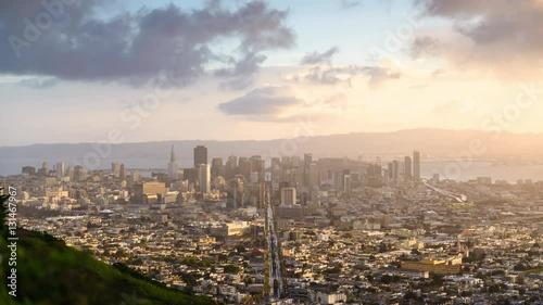 Poster Oceanië San Francisco, California, USA downtown skyline time lapse.