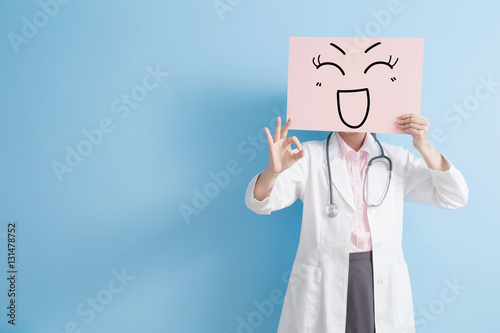 Poster woman doctor take happy billboard