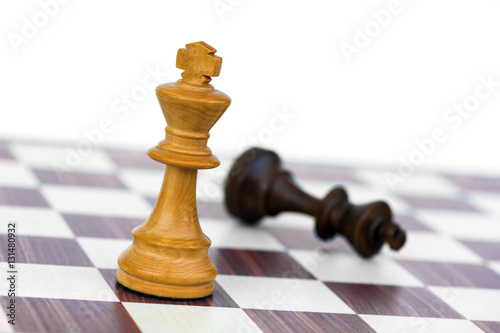 Poster white chess king check black on chessboard