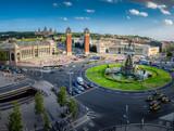 Fototapety Panoramic view on placa Espanya in Barcelona in summer, Spain