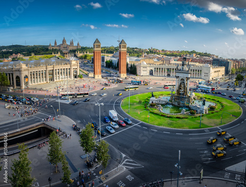 Poster Panoramic view on placa Espanya in Barcelona in summer, Spain