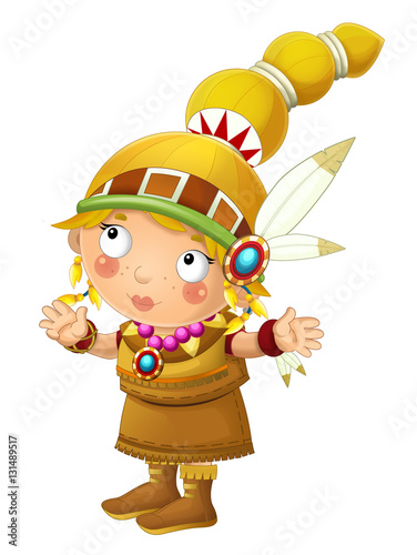 In de dag Indiërs Cartoon indian character - isolated - illustration for children