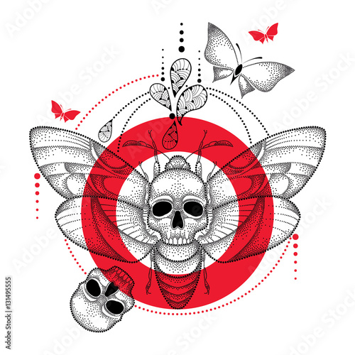 Keuken foto achterwand Vlinders in Grunge Vector drawing of dotted black Death's head hawk moth or Acherontia atropos, red round and skull isolated on white background. Illustration of butterfly with skull in dotwork style for tattoo design.