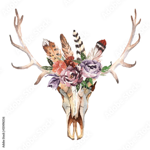 Watercolor isolated deer's head with flowers and feathers on white background. Boho style. Skull for wrapping, wallpaper, t-shirts, textile, posters, cards, prints - 131496336