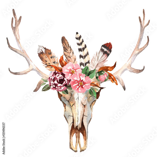 Watercolor isolated deer's head with flowers and feathers on white background. Boho style. Skull for wrapping, wallpaper, t-shirts, textile, posters, cards, prints - 131496337