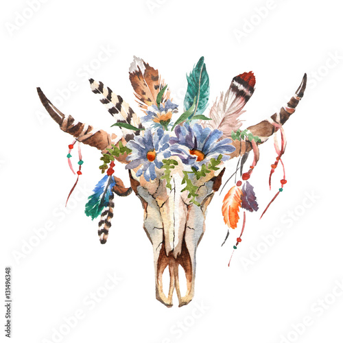 Poster Watercolor isolated bull's head with flowers and feathers on white background