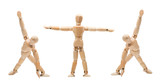 Various yoga postures wooden manikins mannequins