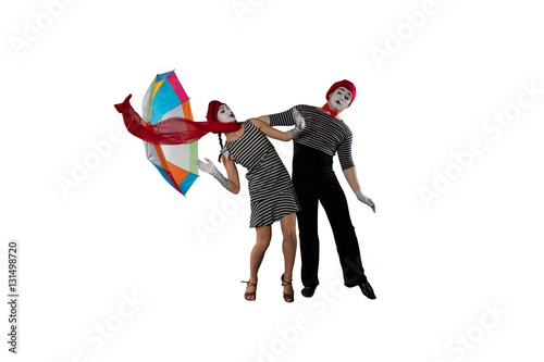 Couple of mimes isolated on white Poster