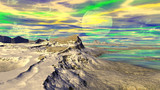 Fantasy alien planet. Mountain and lake. 3D illustration