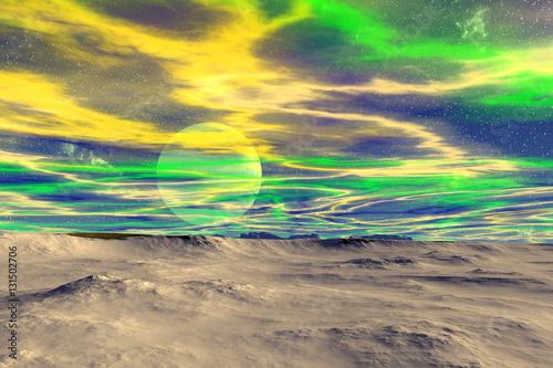 Obraz Fantasy alien planet. Moon. 3D rendering