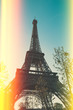 Eiffel Tower vitage color stylized with film light leaks