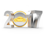 2017 New Year silver numbers and car icon on white background. 3D illustration