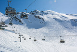 Ski slope and cable car on the ski resort  in Austria, Alps.