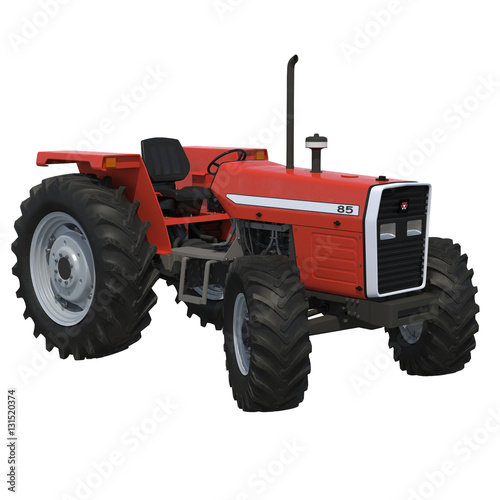 Poster Retro Tractor on white. 3D illustration