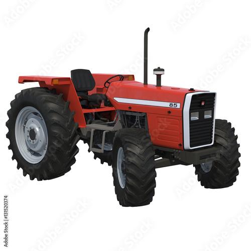 Poster Retro Tractor on white. 3D illustration