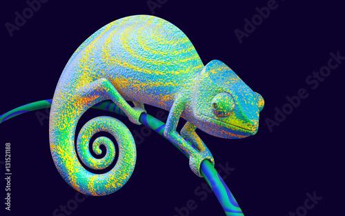 Fototapeta Bright green chameleon, 3d rendering.