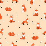 Seamless pattern with cute watercolor foxes. Vector background.