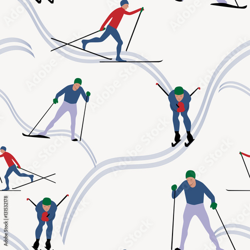 Materiał do szycia Seamless pattern skiing in winter, vector