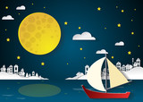 sailing boat at nighttime with full moon and cityscapes.paper cu
