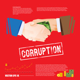 handshake with money. corruption concept - vector