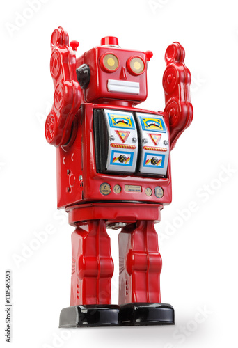 Poster old classic tin robot with clipping path