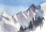 Mountain landscape, Himalayas,, watercolor