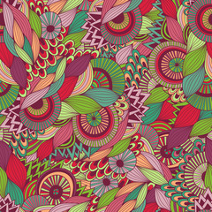 Doodle colorful abstract hand drawn vector background. Wavy zentangle style hand drawn seamless pattern.