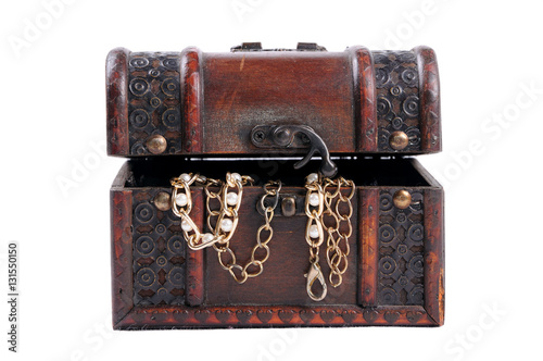 Poster Wooden box with decorations