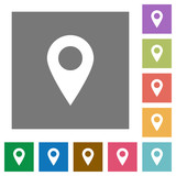 Location pin square flat icons