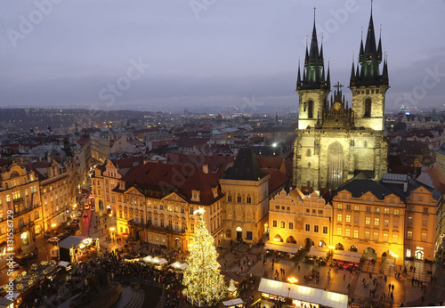 The Old Town Square in Prague during Christmas holidays Poster
