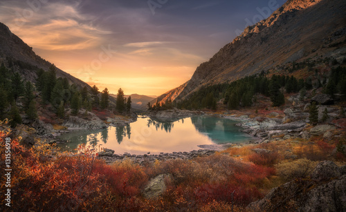 Pink Sky And Mirror Like Lake On Sunset With Red Color Growth On Foreground, Altai Mountains Highland Nature Autumn Landscape Photo