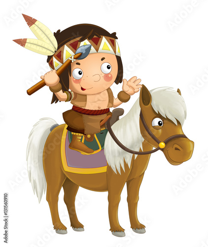 Cartoon western indian on horse - isolated - illustration for children - 131560910