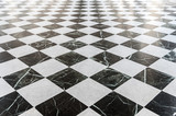 Black and white checkered marble floor