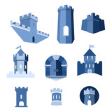 Castle tower, turret, kingdom fortress and castle gate vector icon - 131570721