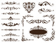 Vintage ornaments design elements floral curlicues white background